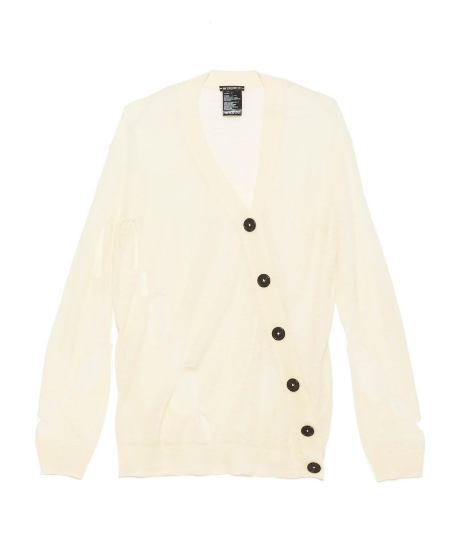 Image for ANN DEMEULEMEESTER WOMEN'S 20012628258001 WHITE WOOL CARDIGAN