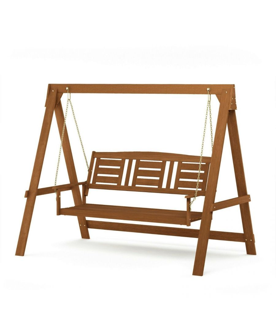 Image for Furinno Tioman Hardwood 3 Seater Swing with Stand, Natural, Garden furniture, Outdoor furniture