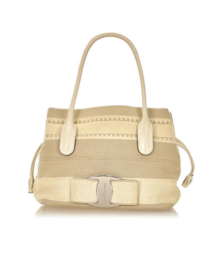 Image for Vintage Ferragamo Vara Canvas Handbag Brown