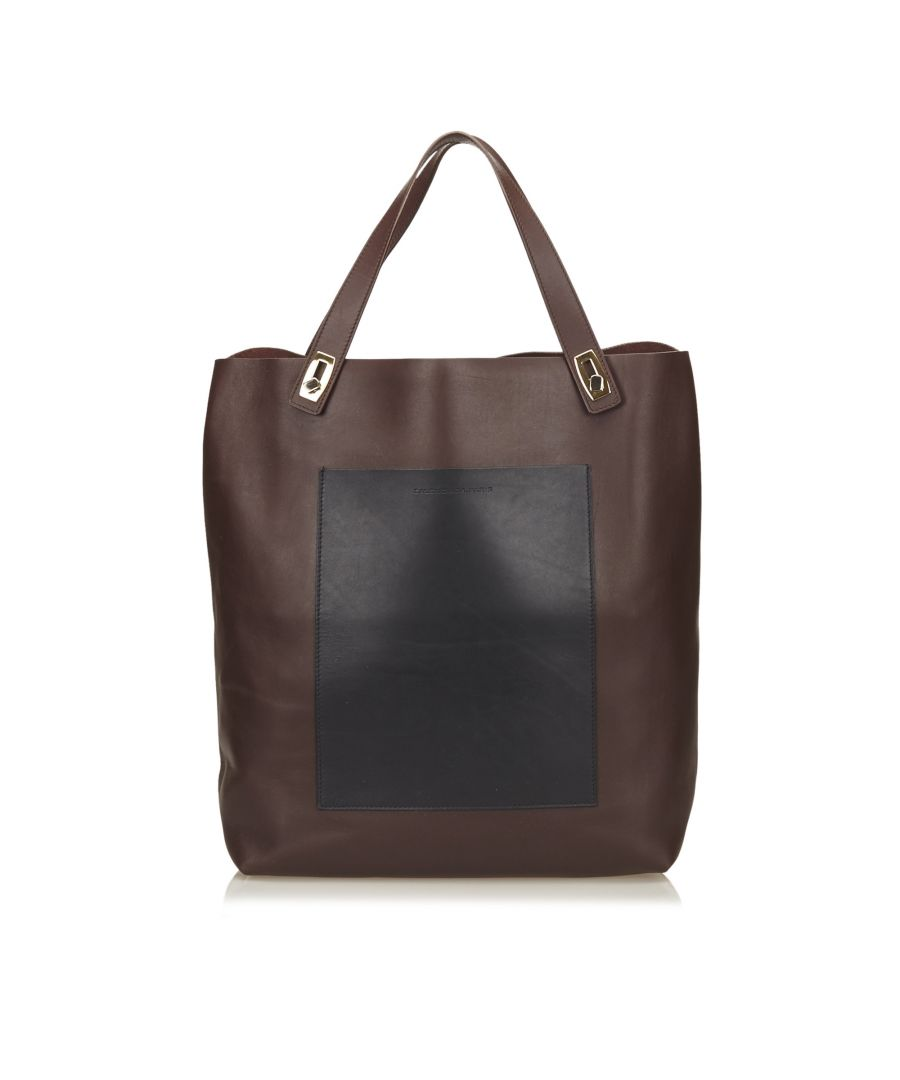 Image for Balenciaga Leather Pocket Tote Brown