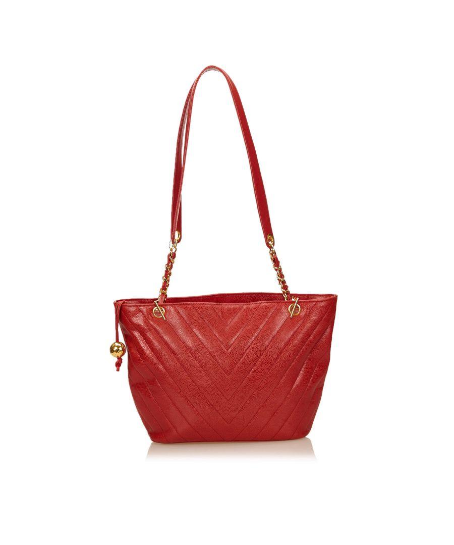 Image for Vintage Chanel Chevron Caviar Leather Shoulder Bag Red