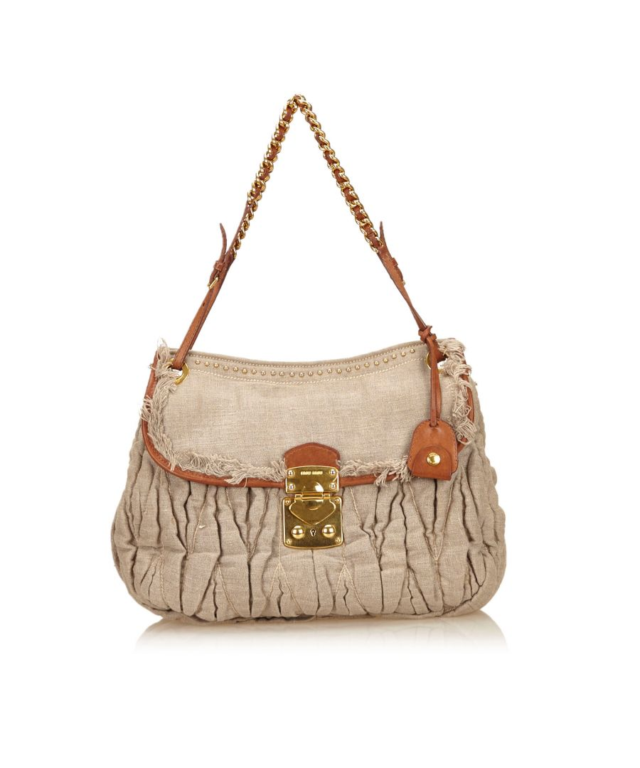 Image for Miu Miu Gathered Hemp Shoulder Bag Gray