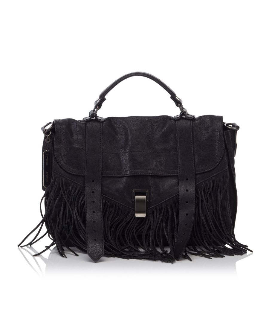 Image for Proenza Schouler Leather Fringe PS1 Black