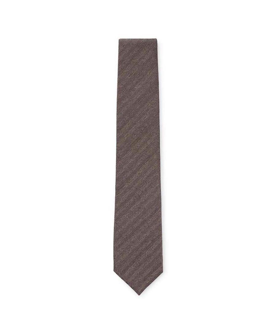 Image for Men's Hackett Chevron Jaspe'' Tie in Light Brown