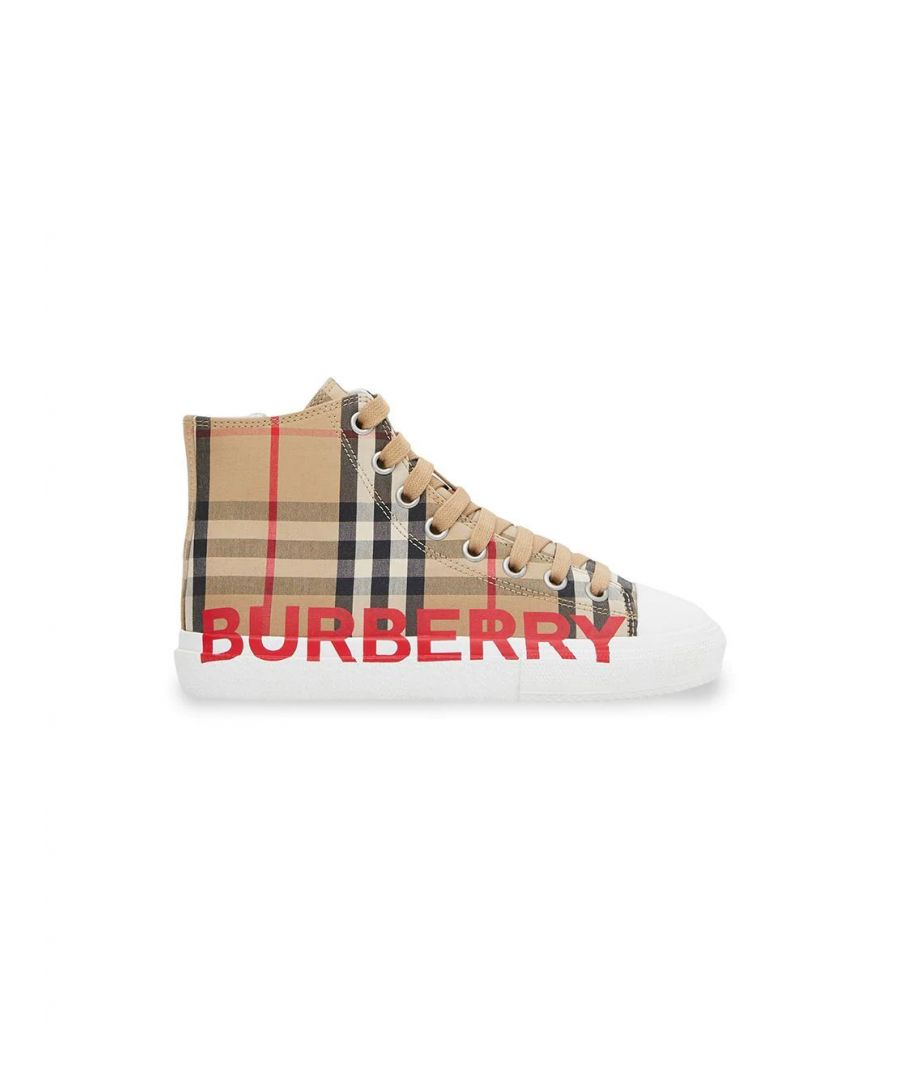 Image for BURBERRY GIRLS 8027071 BEIGE COTTON HI TOP SNEAKERS