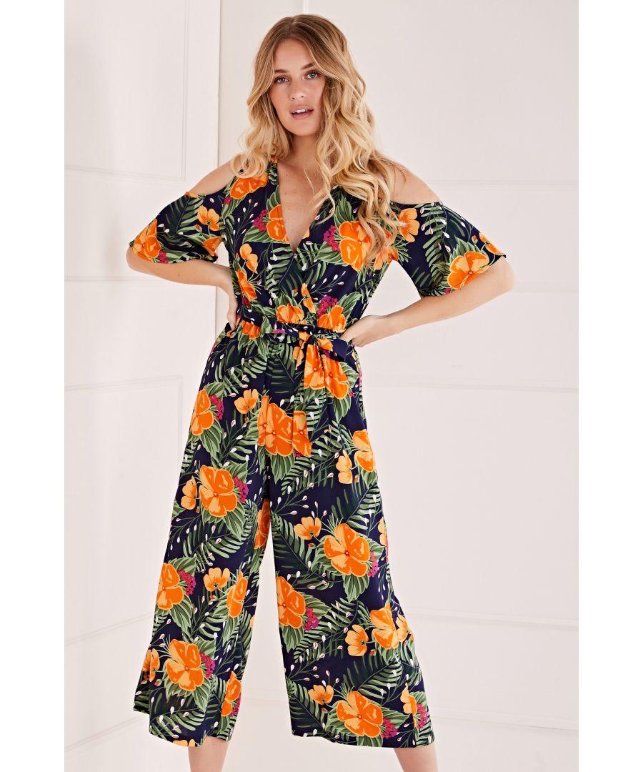 Image for Mela Tropical Printed Cold Shoulder Jumpsuit