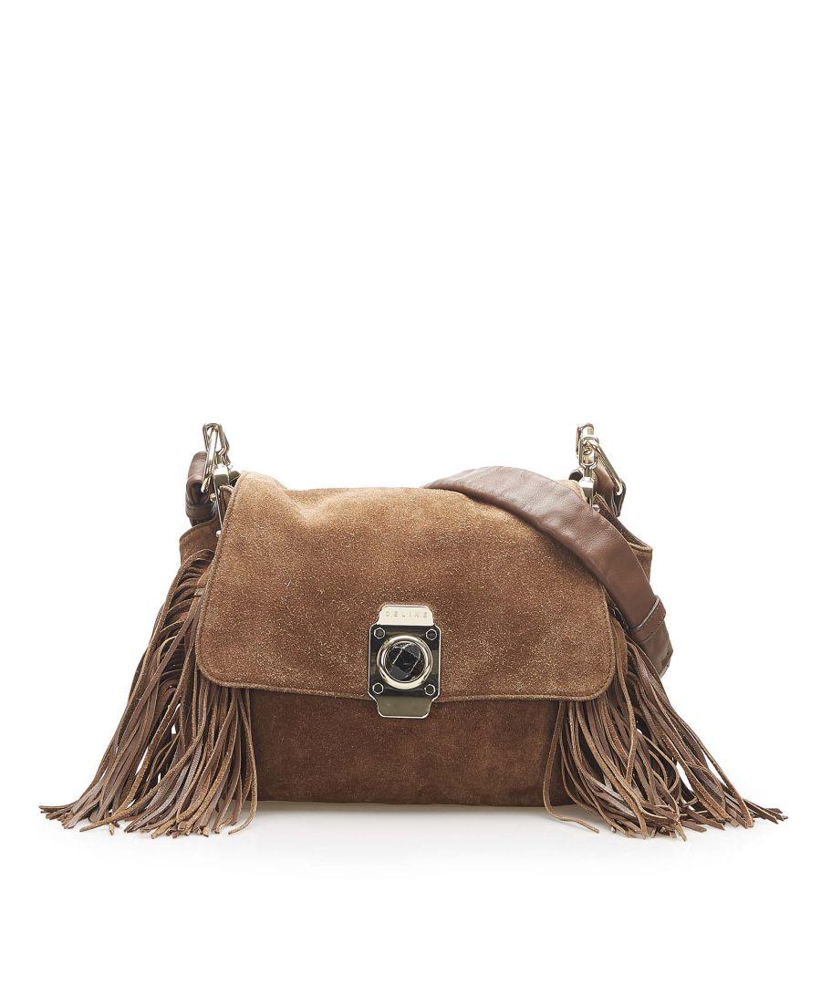 Image for Vintage Celine Dimitri Suede Crossbody Bag Brown