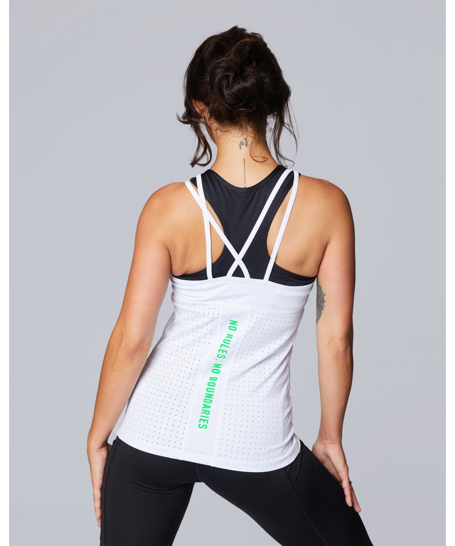 Image for Quote Flo Laser Cut Strap Vest in White