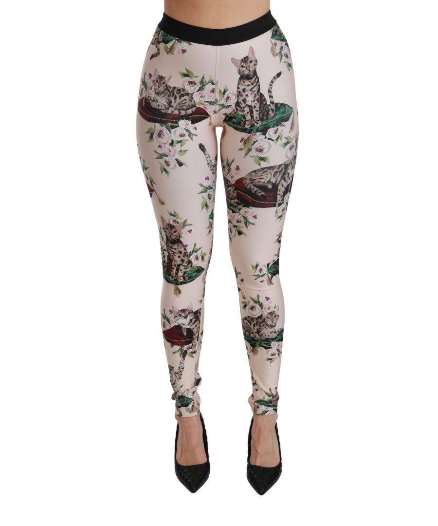 Image for Dolce & Gabbana Multicolor Floral Bengal Cat Leggings Pants