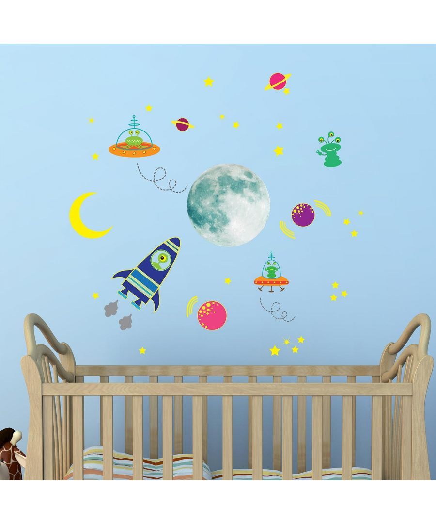 Image for Glow in Dark Galaxy and Rocket  Wall Stickers Kids Room, nursery, children's room, boy, girl