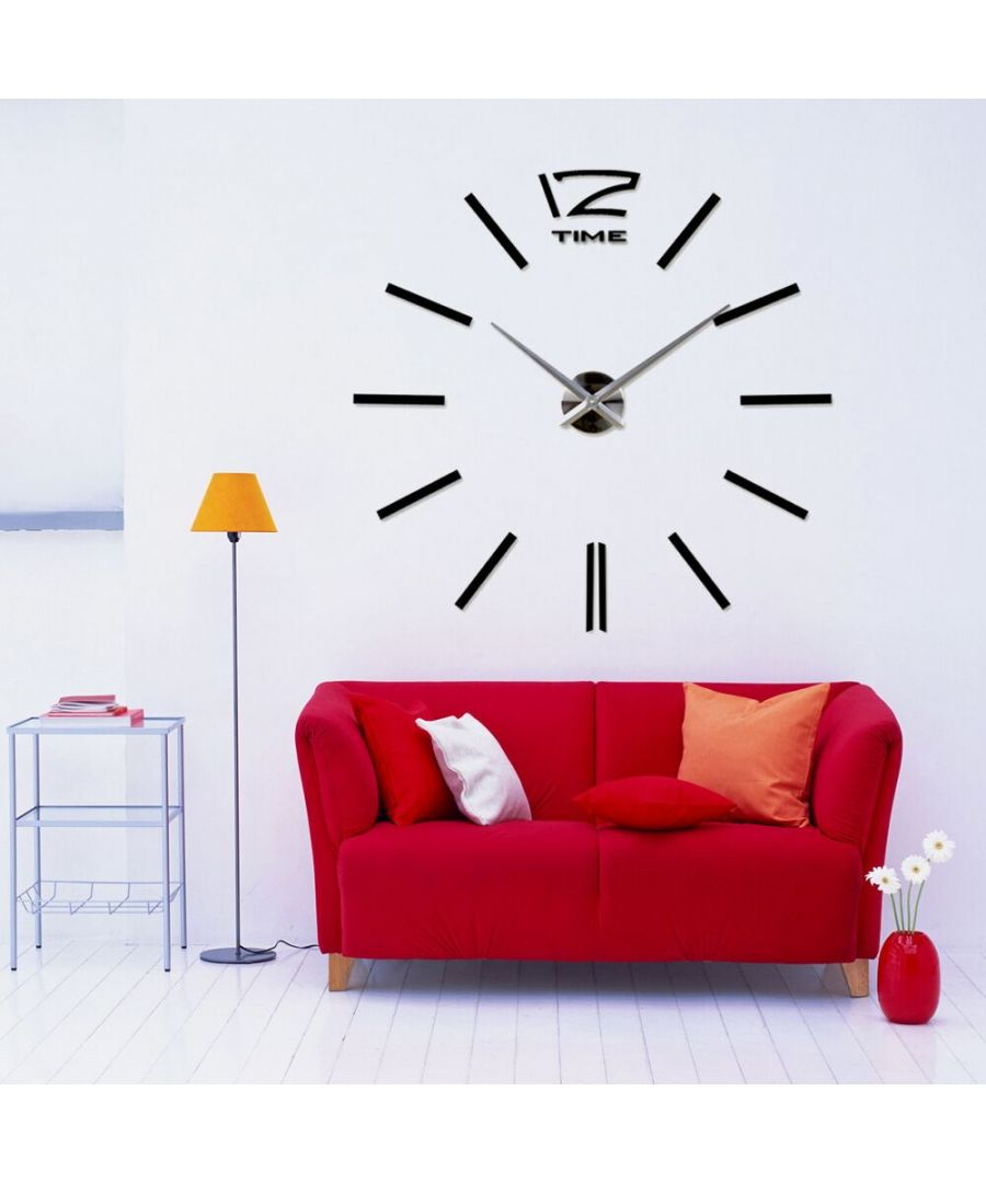 Image for Walplus 130cm 3D Giant Wall Clock Black clock, Bedroom, Living room, Modern, Home office essential, Gift