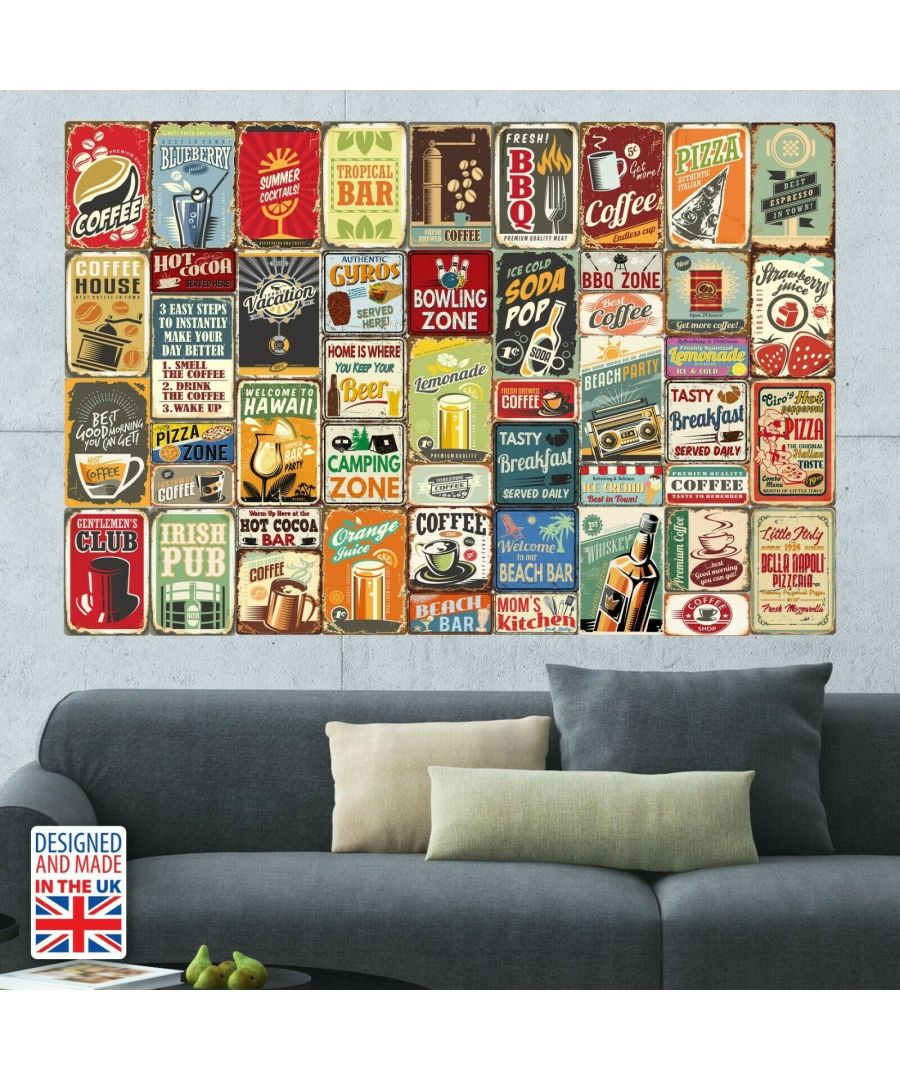 Image for Party Metal Signs Collage Mural Wall Art, Decoration, Living room, Bedroom, Self-adhesive