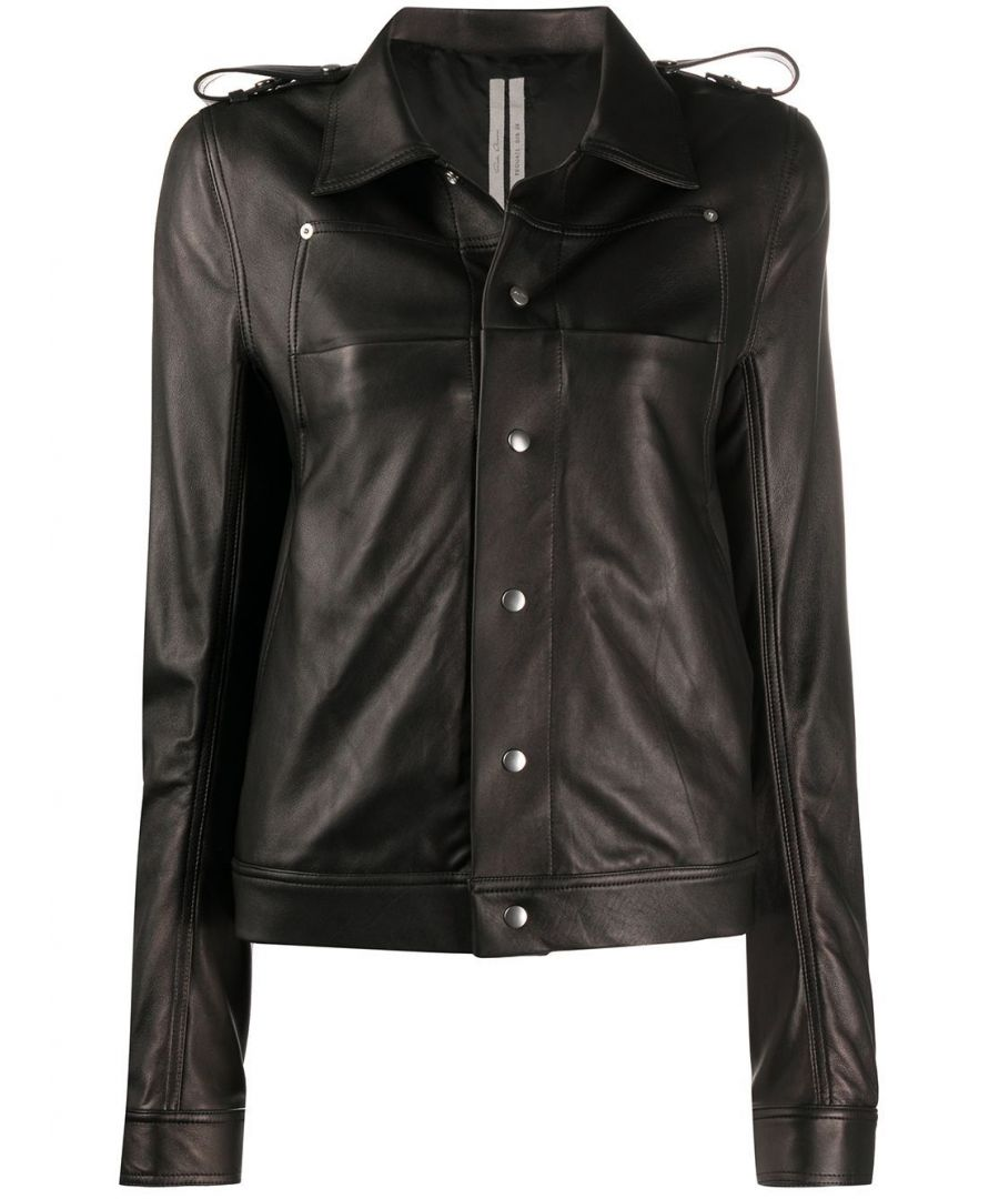 Image for RICK OWENS WOMEN'S RP20S176909 BLACK LEATHER OUTERWEAR JACKET