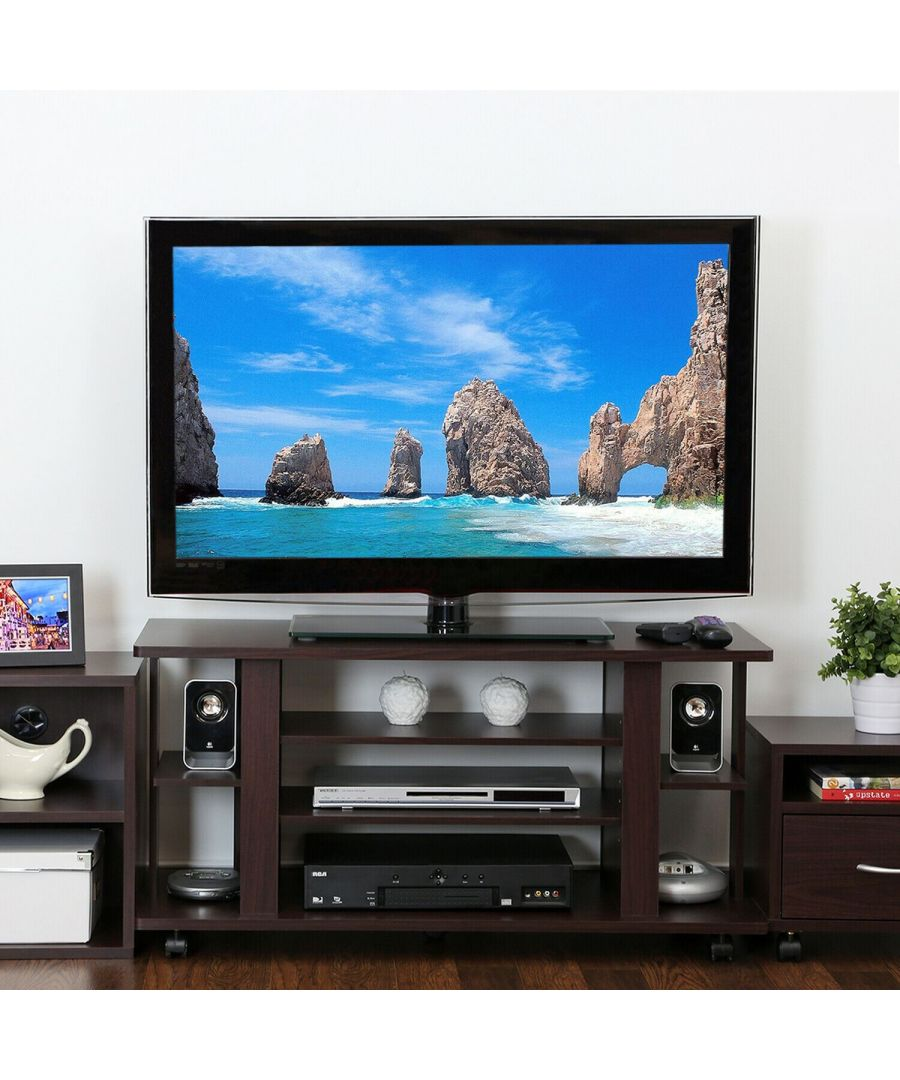Image for Furinno Indo FL-1000EX 4-Tier Low Rise Tatami TV Stands with Casters, Espresso