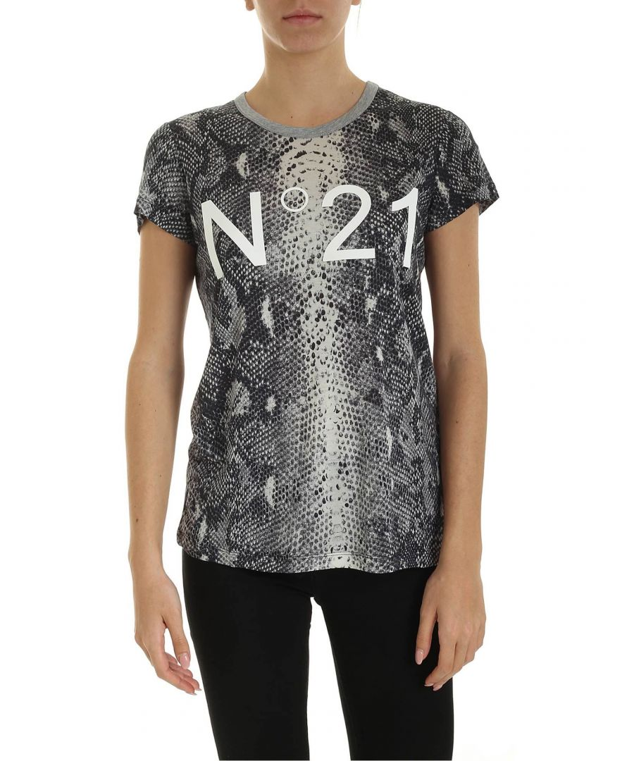 Image for N°21 WOMEN'S F0314810SAP1 GREY COTTON T-SHIRT