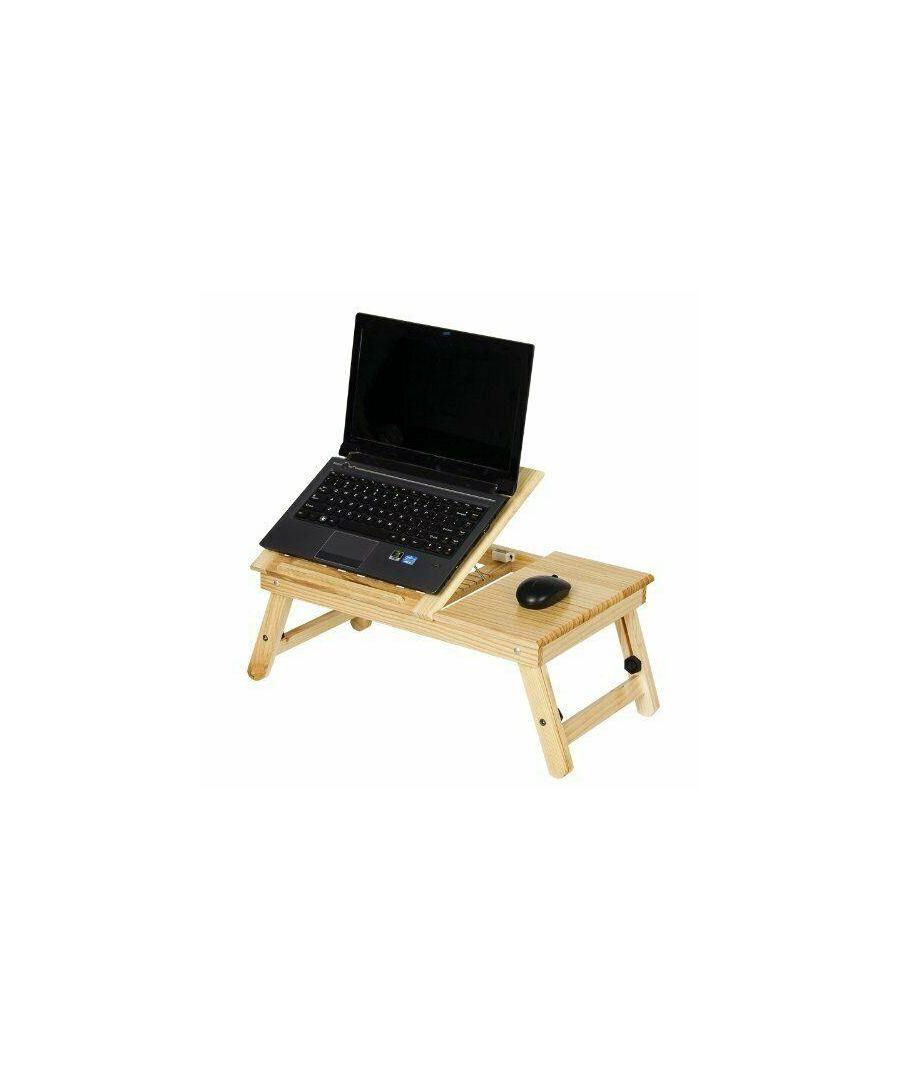 Image for Furinno FNCL-33008 Pine Solid Wood AdJustable Ventilated Notebook Lapdesk, Natural