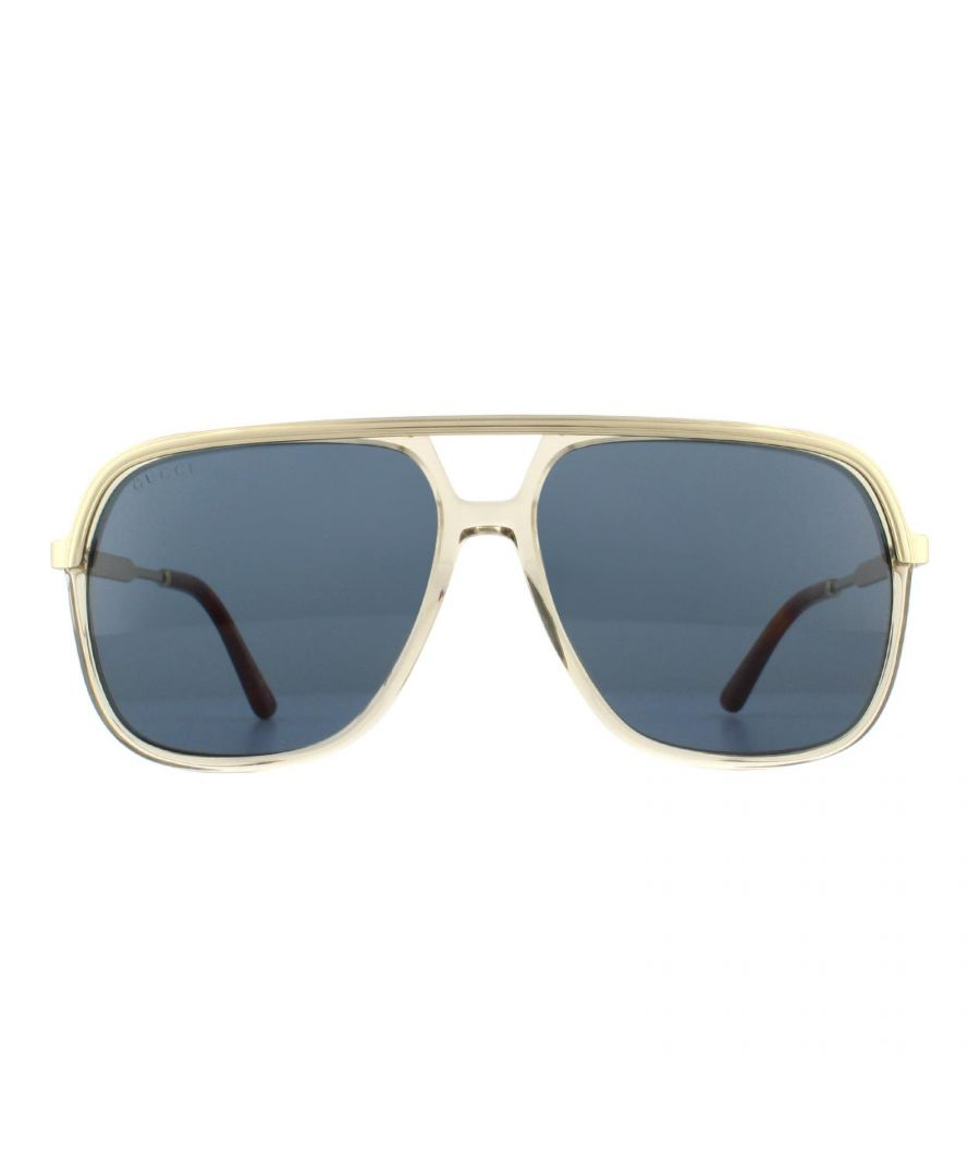 Image for Gucci Sunglasses GG0200S 004 Gold with Light Brown Crystal Blue