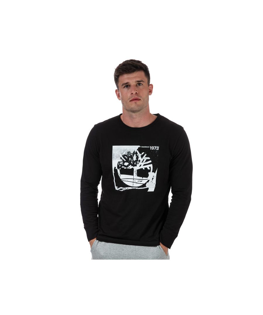 Image for Men's Timberland Long Sleeve Box Tree T-Shirt in Black