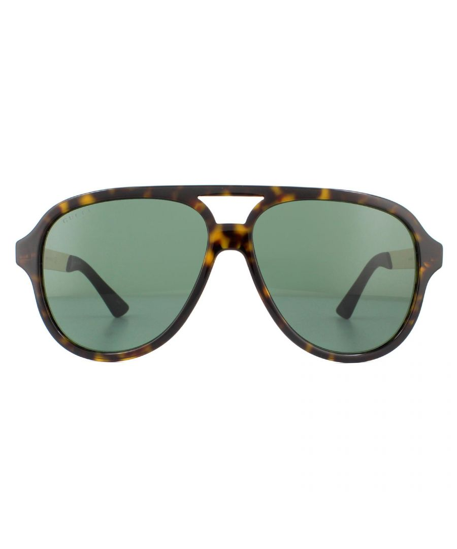 Image for Gucci Sunglasses GG0688S 003 Dark Havana with Green and Gold Green
