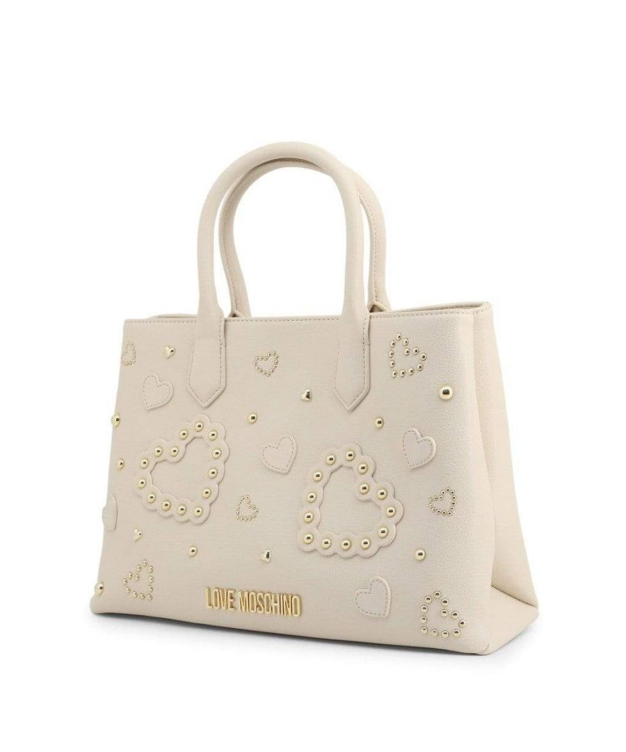 Image for Love Moschino Beaded Heart Shoulder Bag in Beige