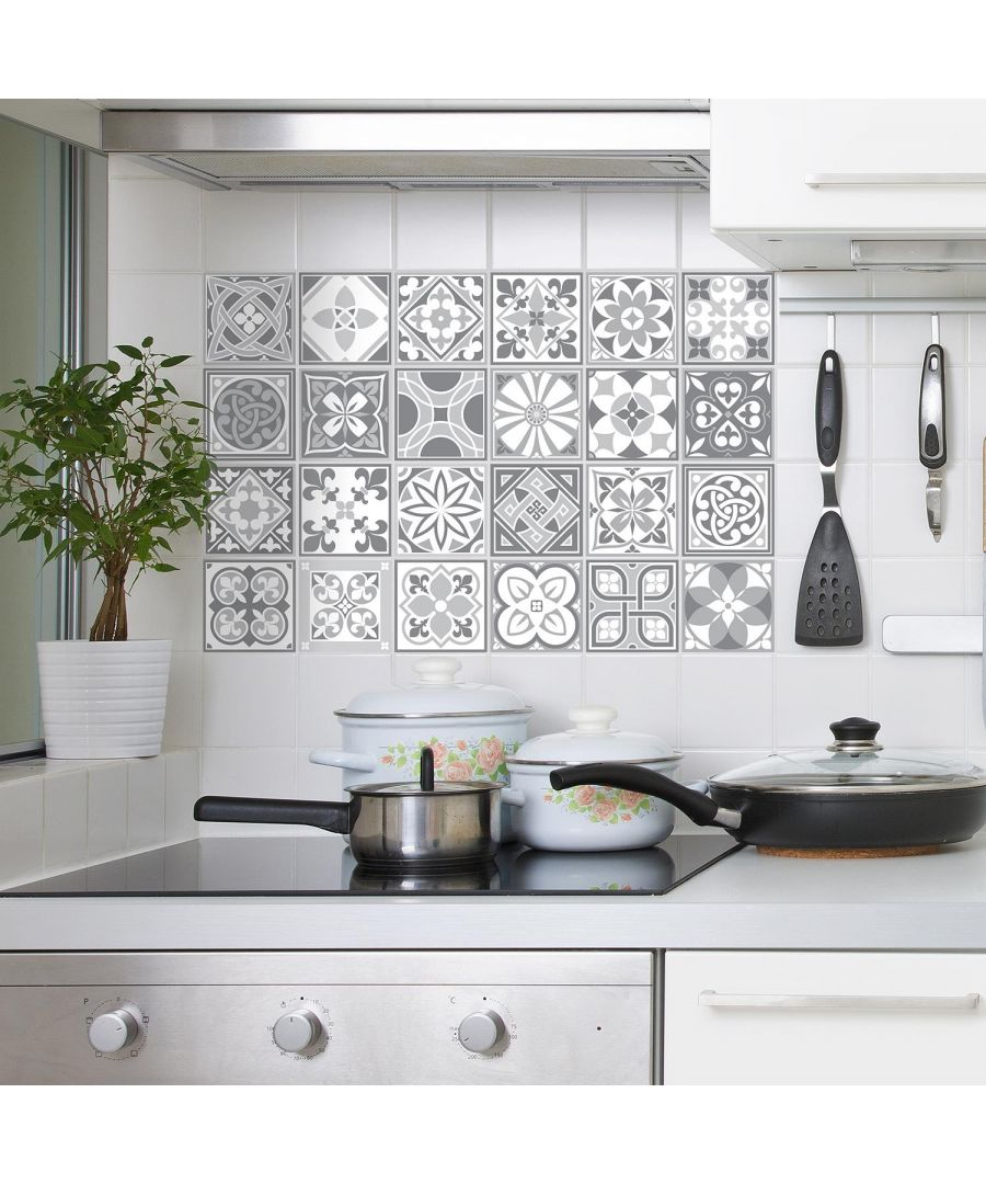 Image for Purbeck Stone Tiles Wall Stickers - 15 cm x 15 cm - 24 pcs Tiles Wall Stickers, Kitchen, Bathroom, Living room