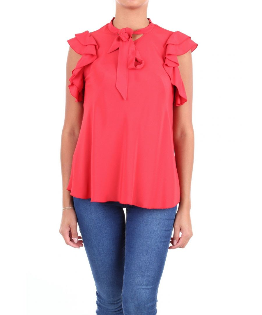 Image for LES COPAINS WOMEN'S 0J2101RED RED ACETATE BLOUSE