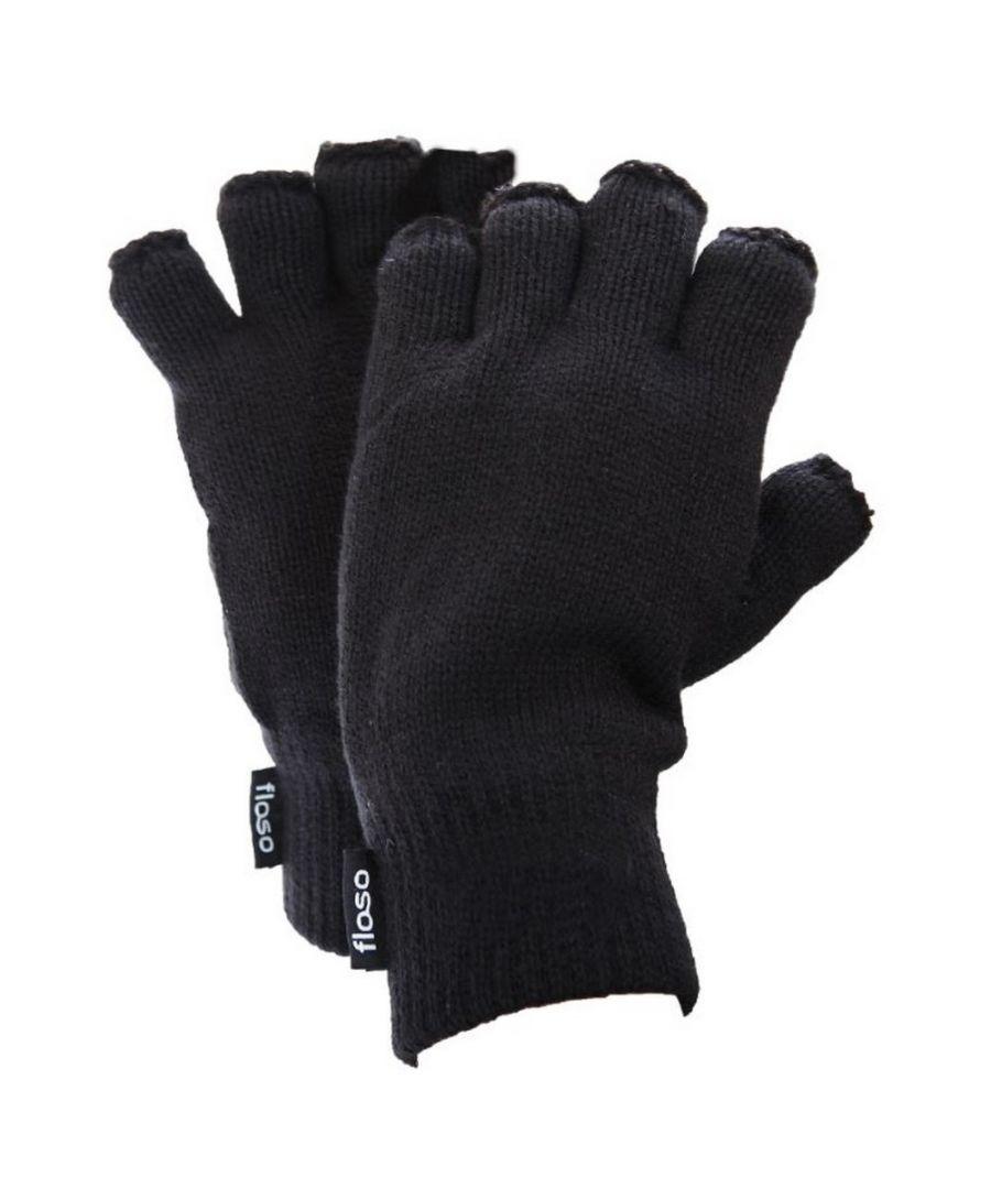 Image for FLOSO Mens Thinsulate Thermal Fingerless Gloves (3M 40g) (Black)