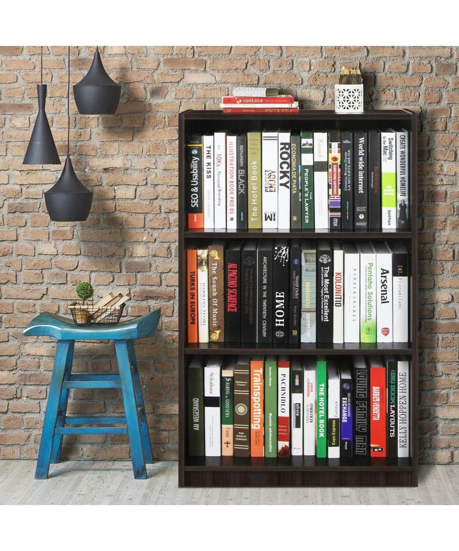 Image for Furinno JAYA Simple Home 3-Tier Adjustable Shelf Bookcase, Espresso