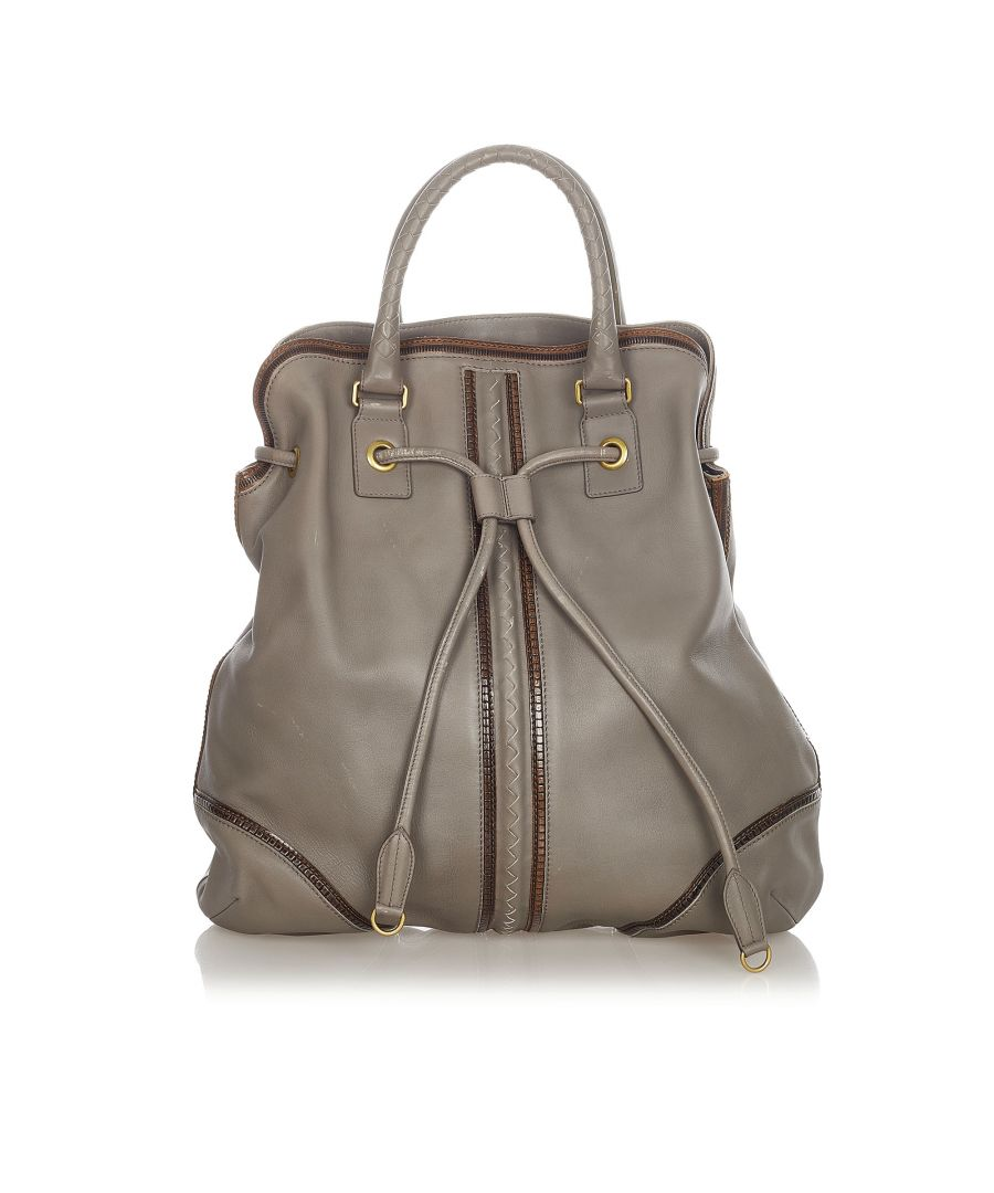 Image for Vintage Bottega Veneta Leather Tote Bag Gray