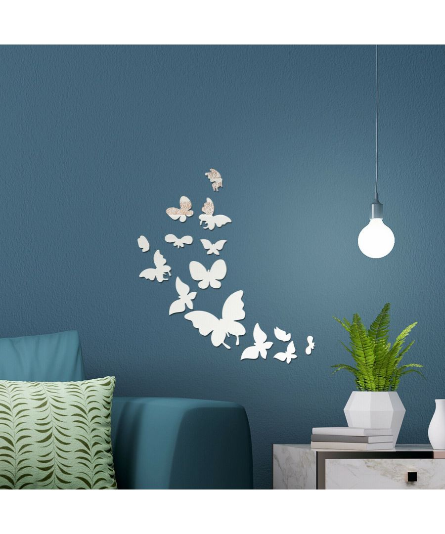 Image for 14 Mirror Butterflies Wall Art  Self adhesive,DIY Wall Art, Wall Art Living Room, Mirror Wall Art