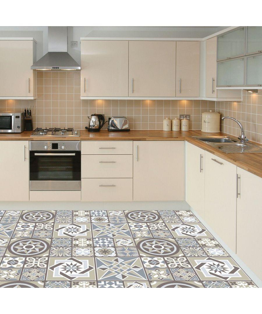 Image for Limestone Spanish Tiles Melange Floor Sticker 120cm x 60 cm, Kitchen, Bathroom, Living room, Self-adhesive