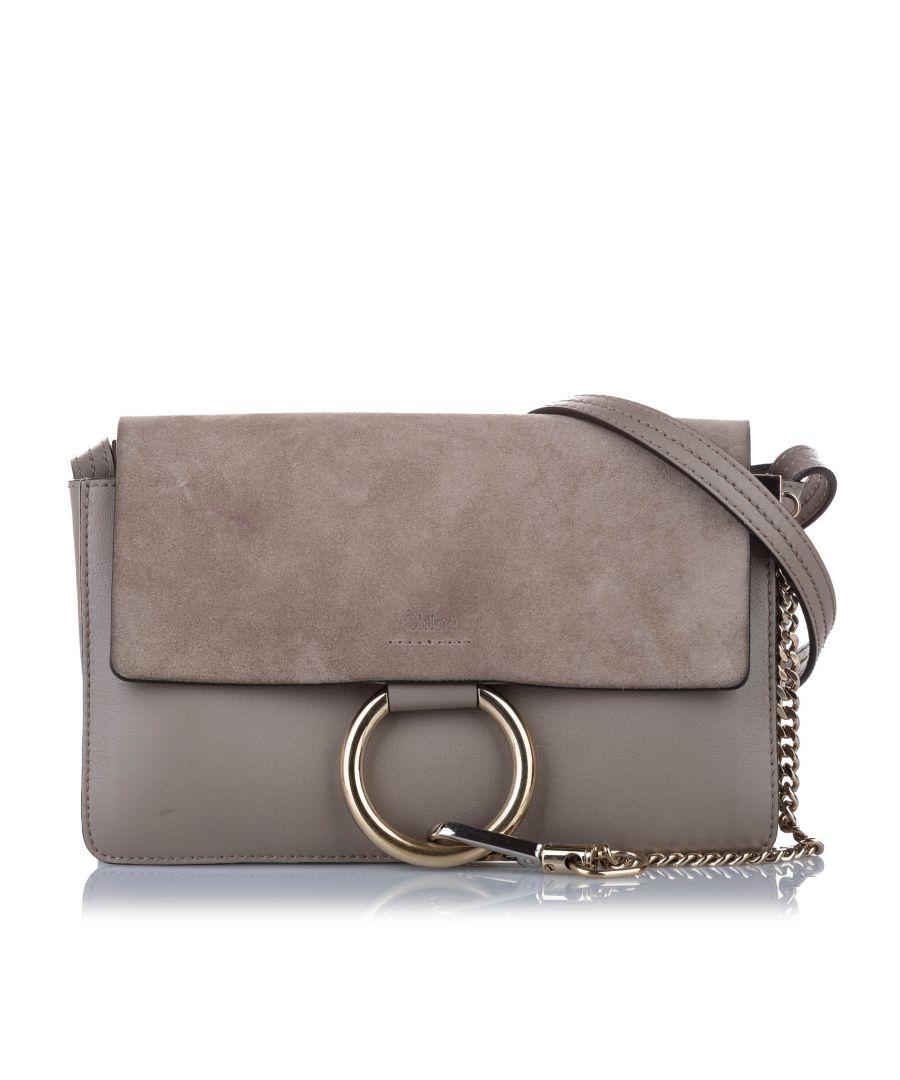 Image for Vintage Chloe Faye Leather Crossbody Bag Gray