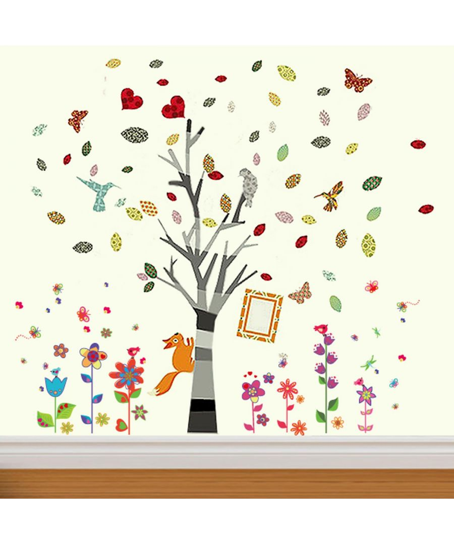 Image for Colourful Flowers and animals Wall Stickers, Kids room, DIY, Self adhesive