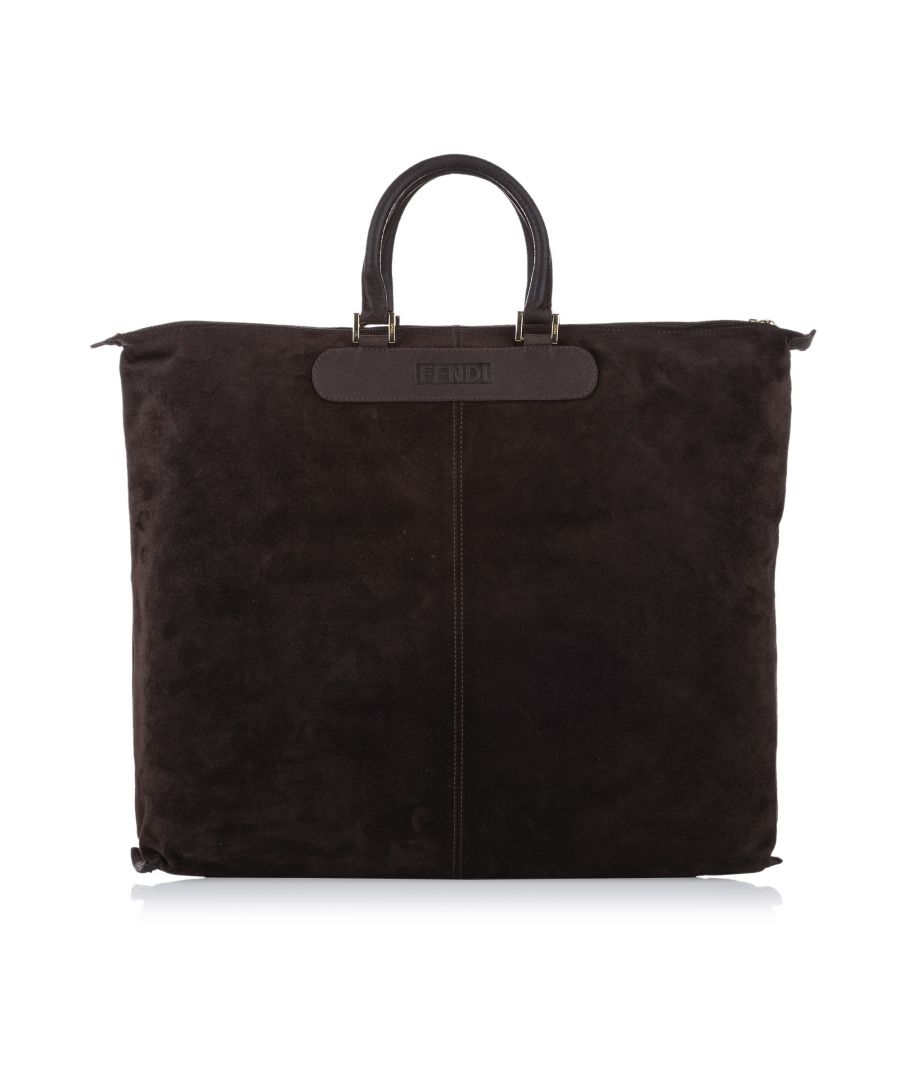 Image for Vintage Fendi Suede Tote Bag Brown