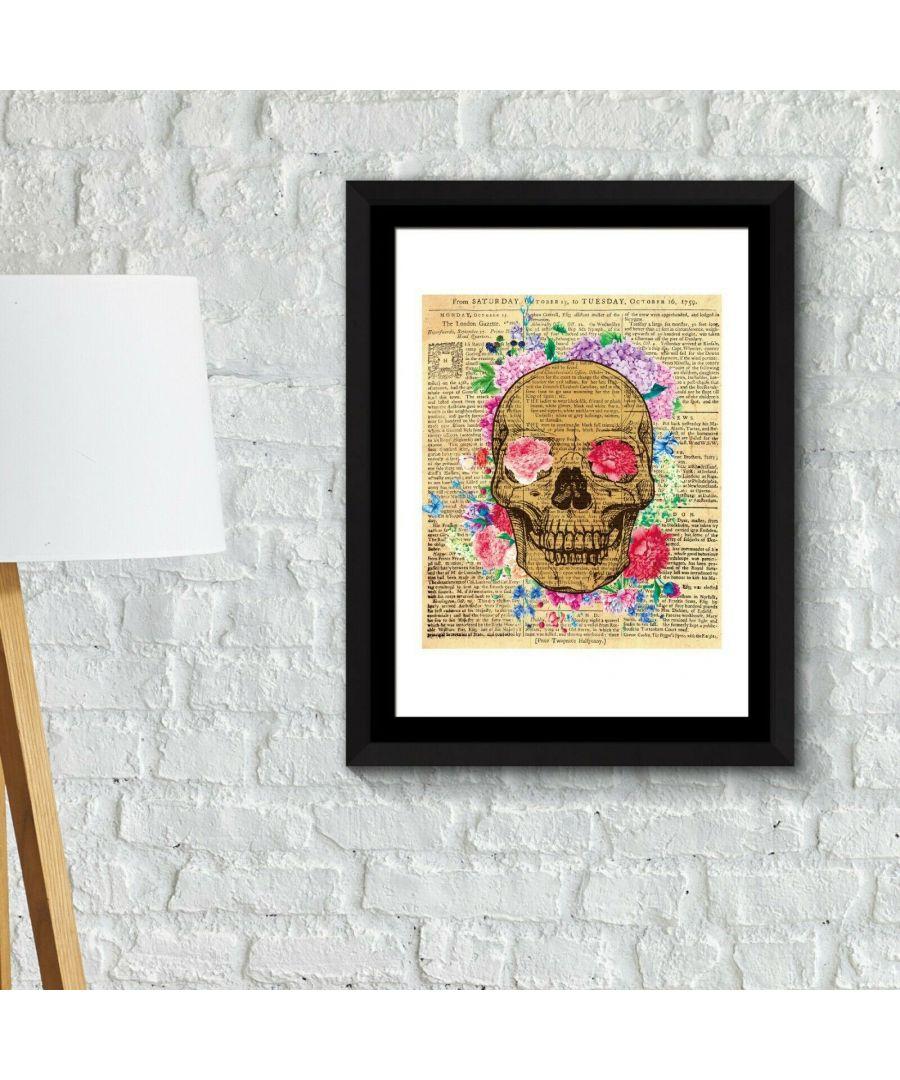 Image for Walplus Framed Art 2in1 Flowery Skeleton Poster wall decal, wall decal flowers, Framed Photo, Framed Art
