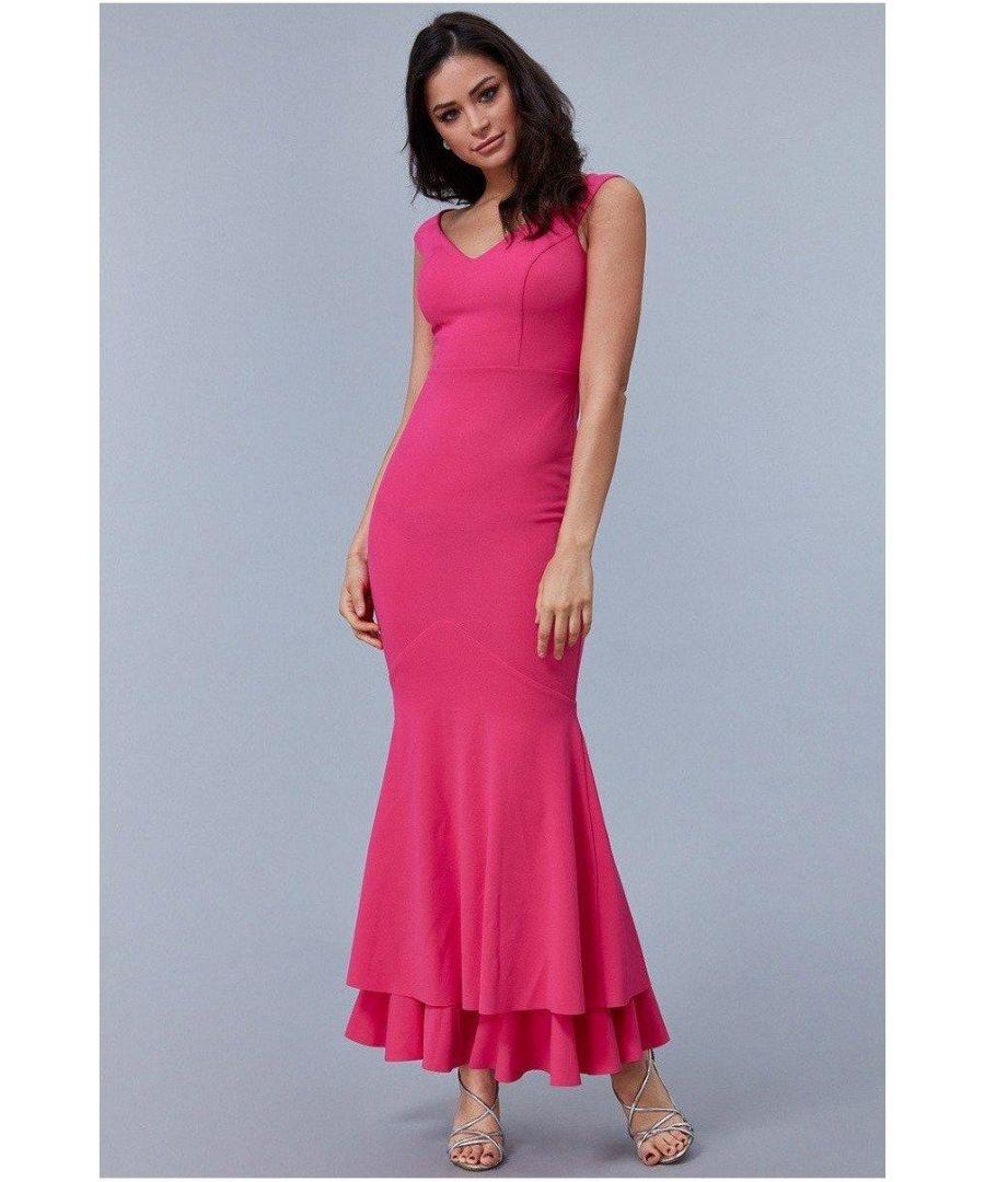 Image for Goddiva - Double Hem Frill Maxi Dress - Cerise