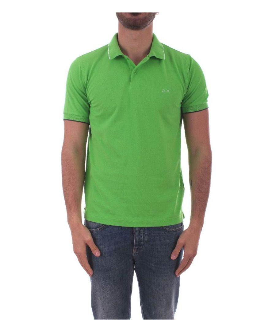 Image for SUN 68 MEN'S A3010668 GREEN COTTON POLO SHIRT