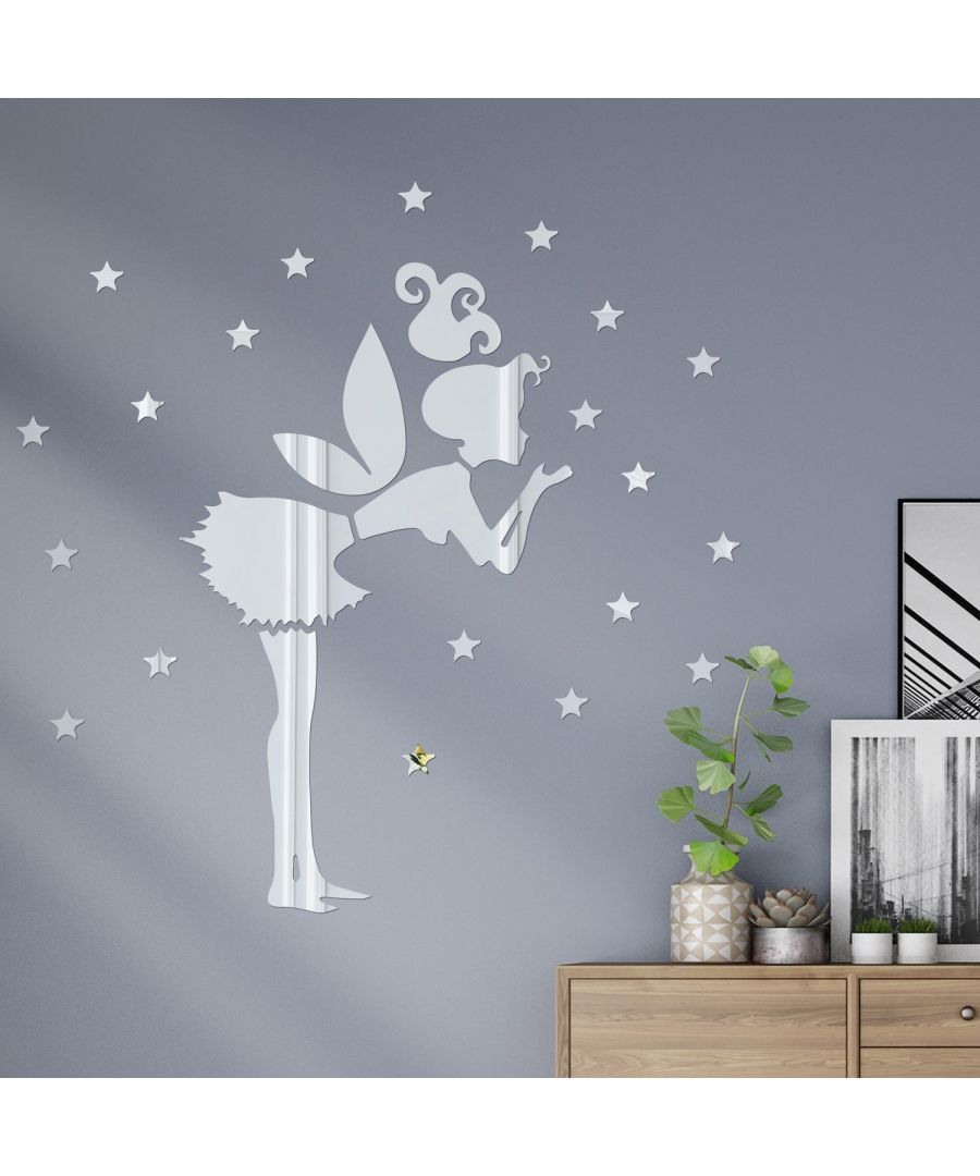 Image for Tinker Bell Girl Mirror Wall Art   Self Adhesive DIY Wall Art, Wall Art Living Room, Mirror Wall Art