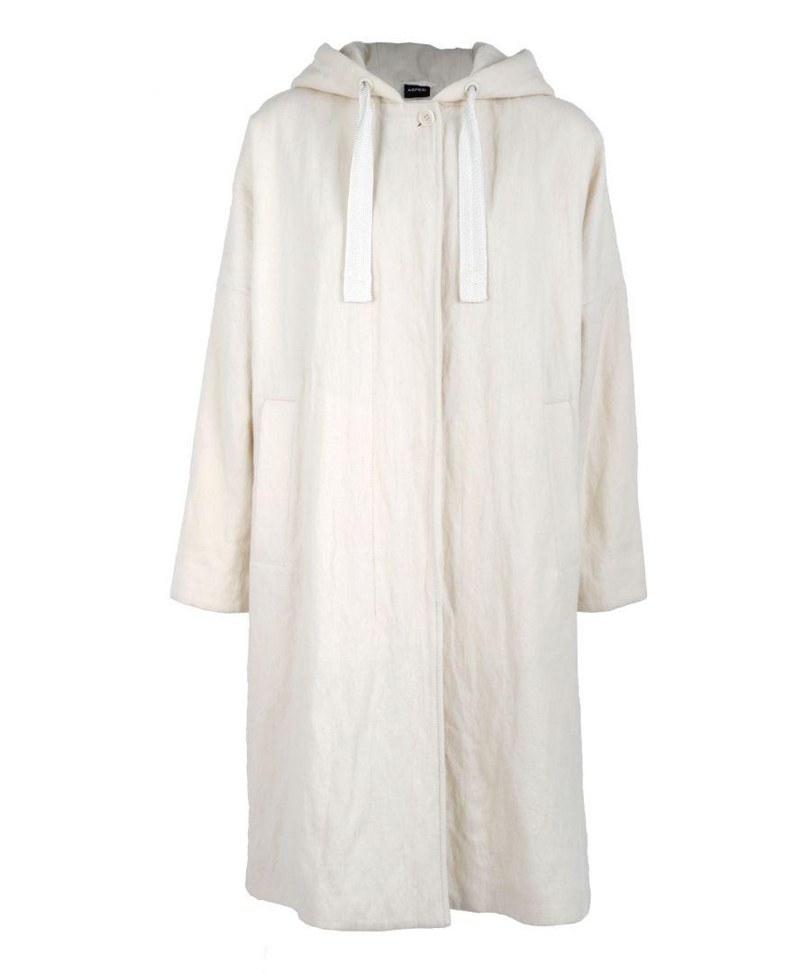 Image for ASPESI WOMEN'S 0709212958073 WHITE WOOL COAT