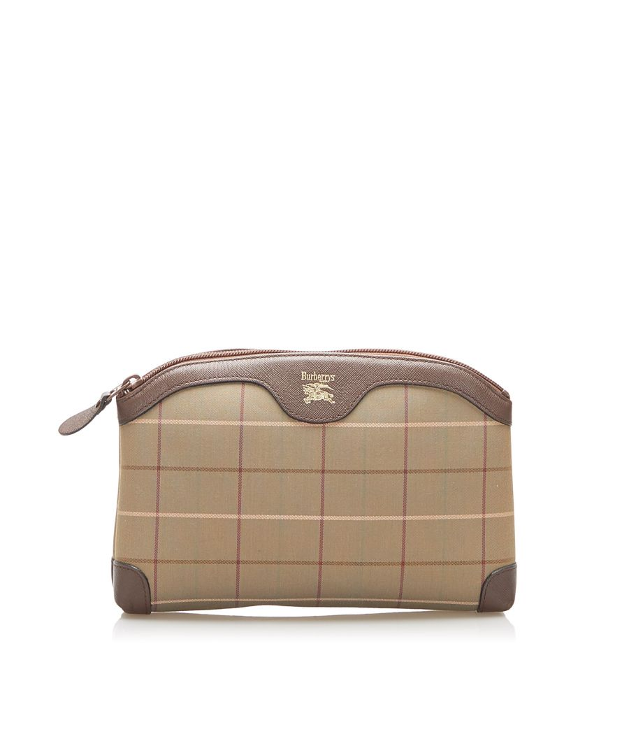 Image for Vintage Burberry Plaid Canvas Pouch Brown