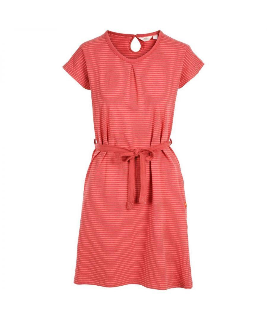 Image for Trespass Women's Lidia Round Neck Cotton Dress (Rhubarb Stripe)