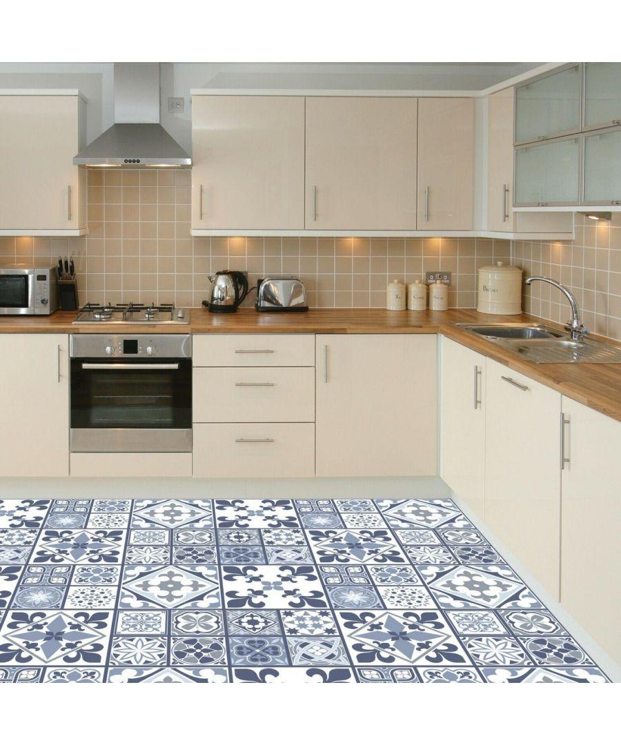 Image for Lisbon Blue Tiles Melange Floor Sticker 120cm x 60 cm, Kitchen, Bathroom, Living room, Self-adhesive