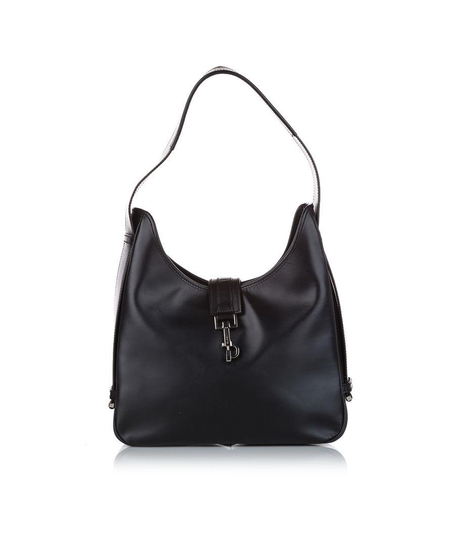 Image for Vintage Gucci Jackie Leather Shoulder Bag Black