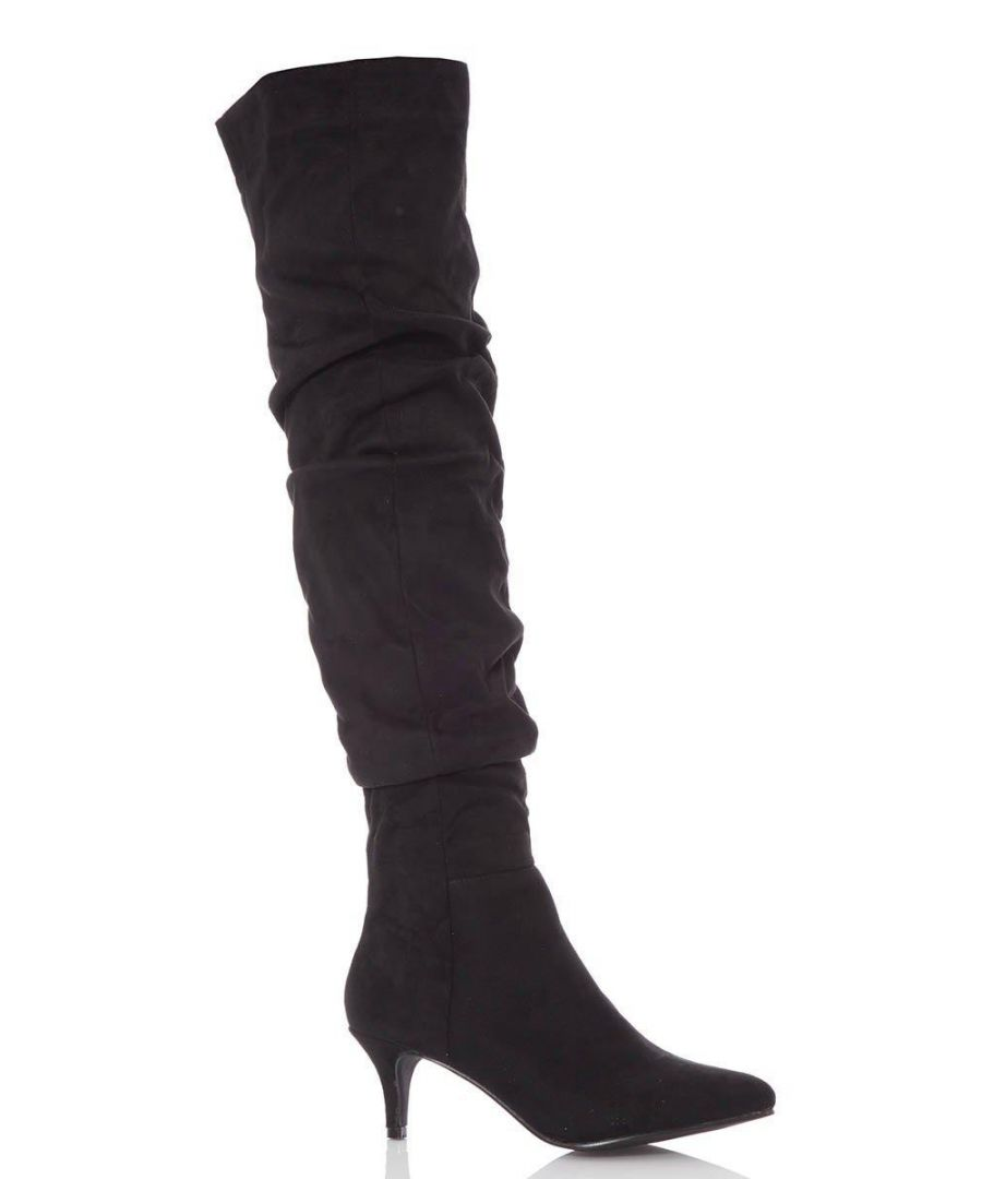 Image for Black Faux Suede Knee High Heel Boots