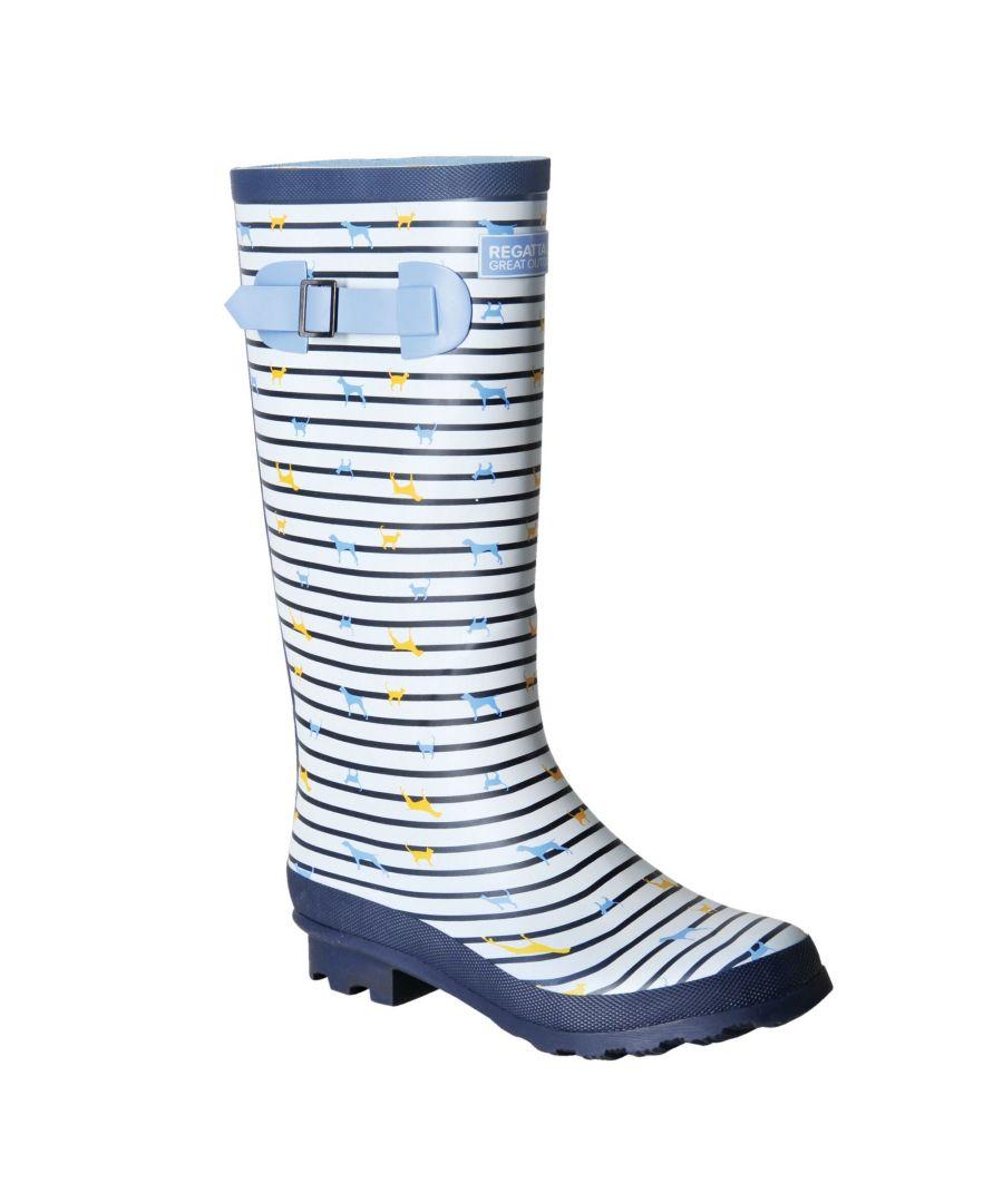 Image for Regatta Womens/Ladies Ly Fairweather II Tall Durable Wellington Boots (White/Blue Breeze Stripe)