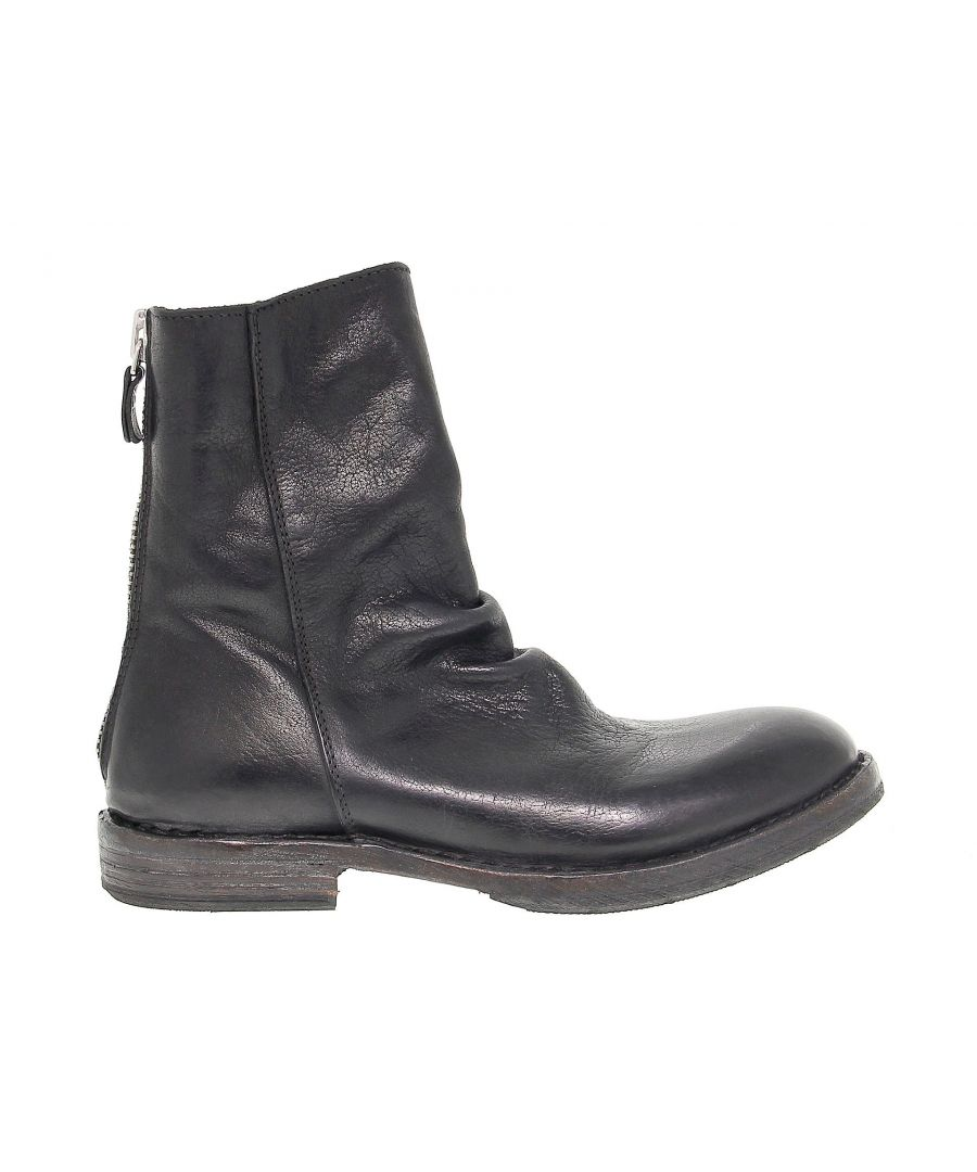Image for MOMA WOMEN'S 81802 BLACK LEATHER ANKLE BOOTS