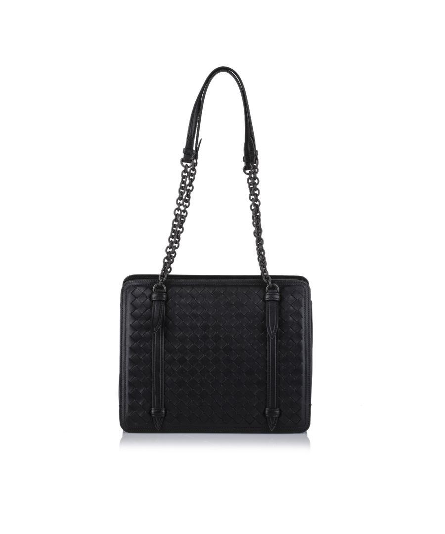 Image for Vintage Bottega Veneta Intrecciato Chain Leather Shoulder Bag Black
