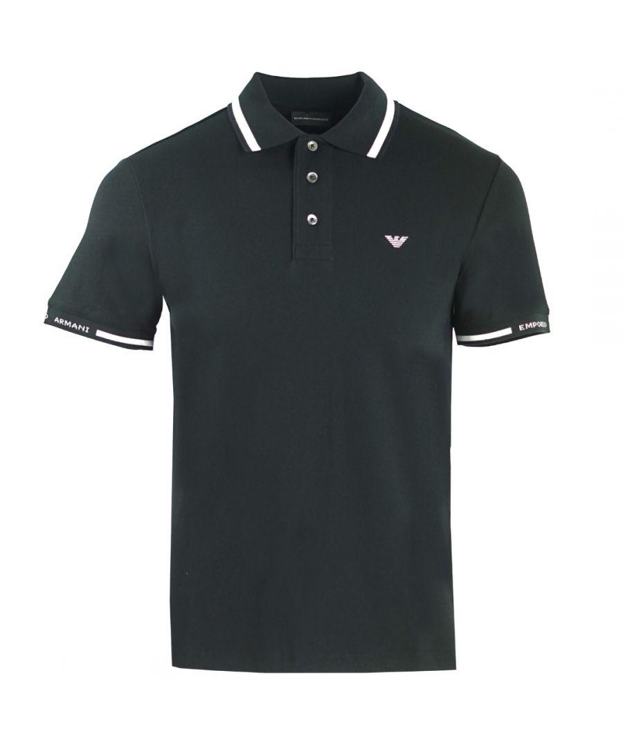Image for Emporio Armani Logo Black Tipped Polo Shirt