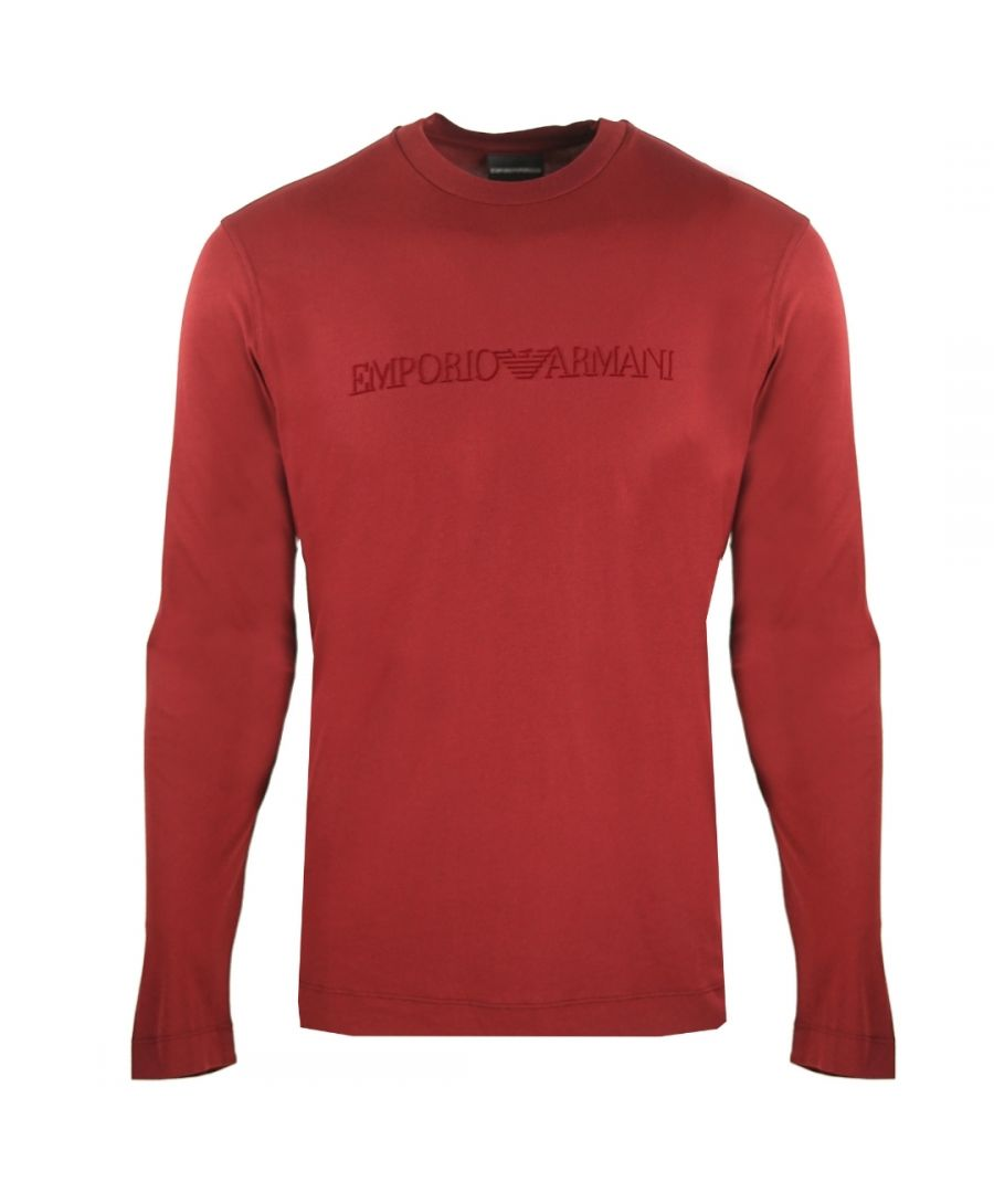 Image for Emporio Armani Logo Long Sleeved Red T-Shirt