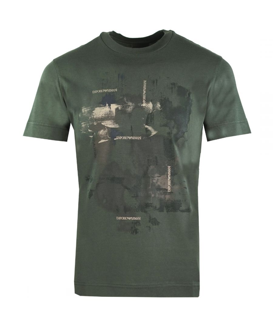 Image for Emporio Armani Abstract Print Green T-Shirt